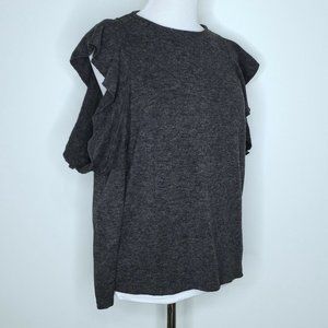 Zara Collection Cold Shoulder Ruffle Sweater Small